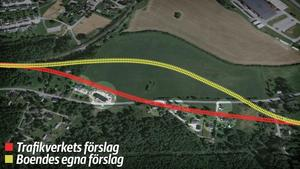 Den röda linjen visar Trafikverkets förslag för järnvägens sträckning, rakt genom Maland. Den gula linjen visar de boendes förslag, där rälsen istället går över den tomma åkern. Då kan åtta villor räddas från inlösen och rivning.Grafik: Robin Brinck
