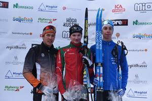 George Ersson från IF Strategen (vänster) slutade tvåa i H 17-18 i distansloppet i JSM. Pål Jonsson segrade och Jonathan Edman från IFK Umeå slutade trea.