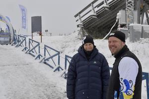 Snö på skidstadion med Andreas Starenhed och Jenny Franzén.