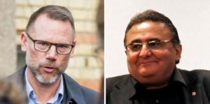 Jihand Menhem (V), till höger,  skriver en replik på ett inlägg från Andreas Svahn (S).