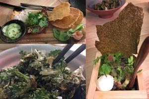Ssäm på långbakat fläskött och flower sprouts till vänster. Till höger tonfisktartar med koriander och ponzumajonnäs.
