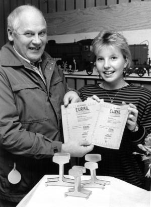 1987 startade eleverna i klass 9 på Fjällsjöskolan ett företag som en del av undervisningen. Företaget tog namnet Eurail och gjorde nytto- och prydnadssaker av den gamla järnvägsrälsen som plockades ner när järnvägen mellan Forsmo och Hoting lades ner. På bilden skolstyrelsens ordförande Allan Ohlson och Eurails ekonomichef  Katarina Byström.