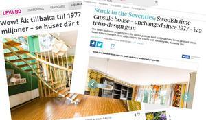 Både engelsk press och Expressens Leva & bo har skrivit om objektet i Medskogsbron. Bilder: Skärmdumpar från tidningarnas hemsidor