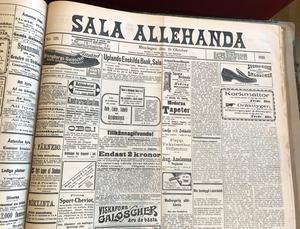 SA:s förstasida den 10 oktober 1910 då Stina Fröjd föddes. Hon har prenumererat på tidningen i 86 år.