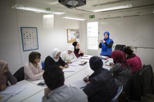Nyanlända lär sig svenska i en studiecirkel. FOTO: Björn Larsson Rosvall/TT