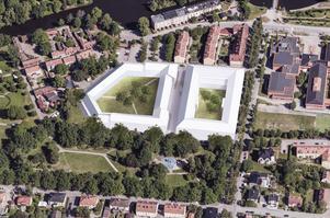 Illustration över det tänkta kvarteret intill Skytteparken. Wadköping ovan till vänster. Bildkälla: Marge Arkitekter