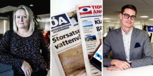 Sandra Bygdén Shameh, chefredaktör för Örnsköldsviks Allehanda, och Oskar Nord, chefredaktör för Tidningen Ångermanland.