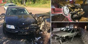 Bilderna visar några av de olyckor som orsakats av rattfulla förare i Gävleborg de senaste åren. Foto: Polisen