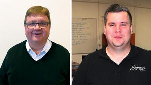 Till vänster Göran Kejerhag, styrelseordförande i HÄR. Till högerSebastian Johansson, delägare i Signum och stödmedlem i HÄR.