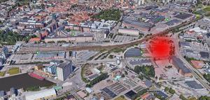 Här ska det nya polishuset ligga. Foto: Google Earth