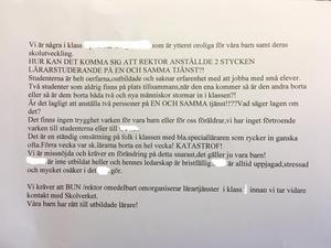 Den första skrivelsen skickades i mitten av september till både familje- och utbildningsförvaltningen och den utpekade läraren.Foto: Smedjebackens kommun