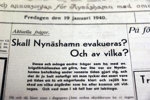 NP 19 januari 1940. Funderingar kring evakuering av staden.