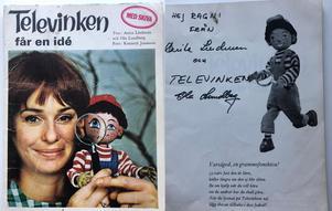 I boken finns Anita, Televinken och Ola Lundholms autografer. Pressbild: Tradera