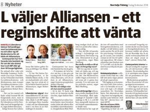 Tobias Bernander skriver i Norrtelje Tidning den 9:e oktober om att Liberalerna inte vill samarbeta med Socialdemokraterna. Inte ett ord om ROOP:s två mandat, skriver Anders Fransson.