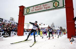 Vinnaren 2016 - schweizaren Dario Cologna går i mål. Foto Ulf Palm / TT