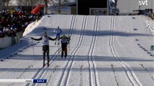 Calle Halfvarsson fick revansch efter gårdagens tävling i tremilen. Bild: SVT