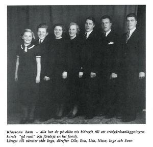 Inga (längst till vänster) och syskonen Olle, Eva, Lisa, Nisse, Inge och Sven. Foto: Privat