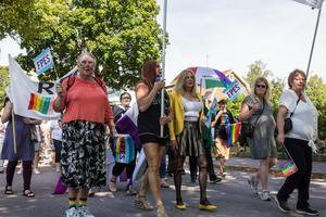 Johanna Staak i gul jacka valde bort Örebro Pride för att gå i paraden i Fagersta.