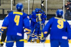 Det blev ett svensk segerjubel i Fjällräven Center på söndagskvällen, när Slovakien besegrades med 5–1 i U18-VM. Bild: Jonas Forsberg/Bildbyrån