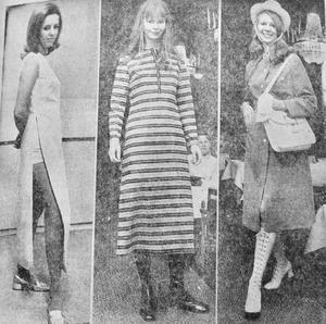 Se bara så fina Gunilla Axelzon, Margareta Käck och Birgitta Pettersson är på modevisning i Eksjö våren 1971.