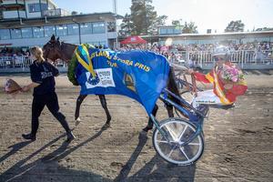 Jämtlands stora pris på Östersundstravet. Jorma Kontio vann med Readly Express 9 juni 2018.