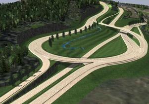 En skiss på den nya planskilda korsningen som ska byggas i höjd med Timmervägen på E14. Bild: Pressbild