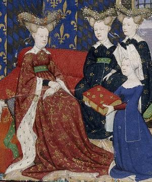 Christine de Pizan (med boken) tillsammans med drottningen Isabella av Bayern, Karl VI:s hustru. Illustration ur