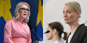 Socialminister Lena Hallengren (S) och Karin Tegmark Wisell, överläkare och avdelningschef, Folkhälsomyndigheten.