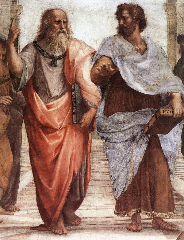 Platon med sin yngre elev Aristoteles i Rafaels fresk