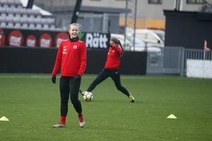 Frida Abrahamsson på träningsplanen.