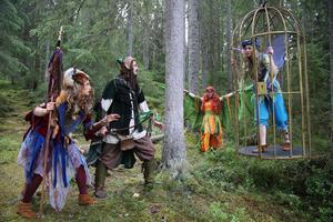 Skogsälvan Älvy har blivit tillfångatagen av trollen, Alven och Huldran försöker hjälpa henne.