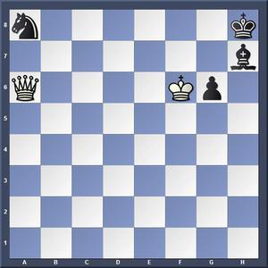 Lösning: 1.Da1Lg8 2.Kxg6/ 1.-,Kg8 2.Dxa8/ 1.-,g5 2.Kf7.