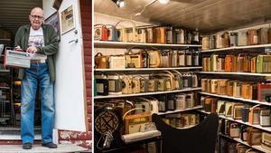 Hemma på tomten vid Orrberget, Huljen har Lars Jonsson sitt radiomuseum.