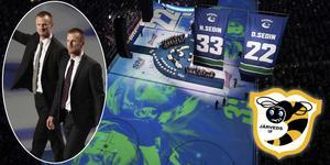 Under natten till torsdag hissades Daniels och Henriks nummer i Rogers Arena. Deras förtjänstfanor hänger nu bredvid Markus Näslund. Tre Järvedskillar i rad i en NHL-arena.  Foto: TT.
