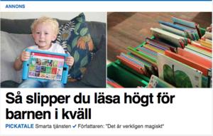 Numera finns det tjänster för att slippa läsa böcker med sina barn. Det är ett tecken på en oroande samhällsutveckling. Bild: Skärmdump