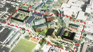 Så här kommer det nya centrumet enligt planen se ut.Illustration: Fojab arkitekter