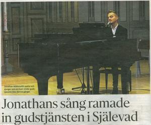 Naturbarnet Jonathan Wåhlstedth smälte in i gudstjänsten på ett naturligt sätt.