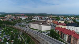 Falu kommun vill bebygga kvarteret Rödbro och söker nu aktivt intressenter via ett dialogförfarande. Illustration: Falu kommun.