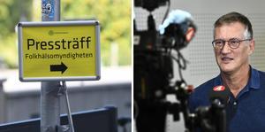 Folkhälsomyndigheten håller pressträff idag om coronaläget. Foto Fredrik Sandberg / TT och Claudio Bresciani / TT.