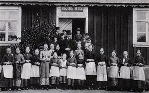 En folkskola i Snötorp i Halland 1885. Foto: Okänd