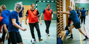 Gåfotboll är en friskvårdssatsning av GIF Sundsvall tillsammans med Region Västernorrland. Jafar Soltani med bollen och Lars Wallentin stretchar innan matchen.