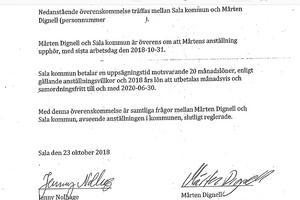 Överenskommelsen mellan kommunchef Jenny Nolhage och petade ekonomichefen Mårten Dignell.