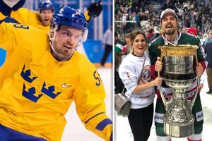 Anton Lander tillsammans med frun Malin och Gagarin Cup. Bild: Joel Marklund/Bildbyrån/Twitter/Montage