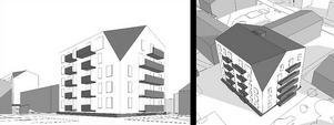 Illustration: Alton Öhman arkitekter.Bilderna är så kallade volymstudier som visar den ena byggnadens storlek och ger en uppfattning om balkong- och fönstersättning. Avfasningen av takens hörn visas även.