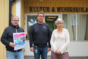 Jan Olsson, ungdomskonsulent, Harry Lehto, kulturchef och Eva Ersbacken, kulturkonsulent. Alla ser fram emot kulturnatta.