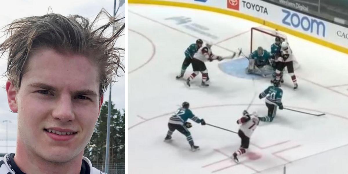 Drömmål av Söderström i morse – första NHL-målet rakt upp i krysset