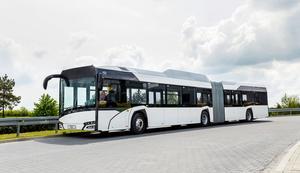 Nästa sommar kommer 40 nya gasdrivna bussar att tas i bruk, 16 av dem kommer att vara dragspelsbussar. Fordonen som ska trafikera Gävle kommer att vara gula.  Bild: Solaris
