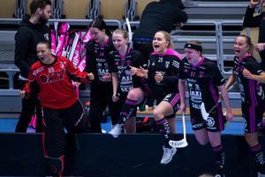 Stort IBF Falun-jubel efter bortasegern mot Team Thorengruppen i kvalet. Foto: Henrik Karmehag VK Media