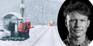 Klimathänsynen fick skidåkarna att välja tåg och båt framför flyg till Japan. Den tre veckor långa resan blev själv ett stort äventyr. Erik Nylander följde med dem (porträttbild Markus Toivonen).