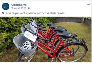 Daladelegationens cyklar i Visby. Det är högst oklart varför allmänheten behöver se dessa. Faksimil Almedalarnas Facebook